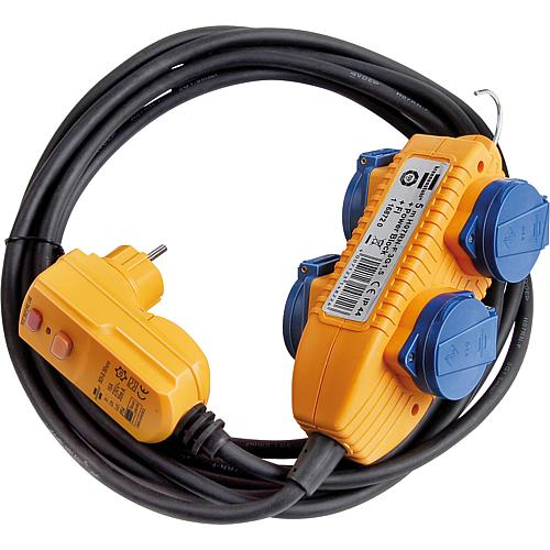 Protective contact socket distributor 4-way, IP54, 10 metre cable, with FI plug 30mA Standard 1