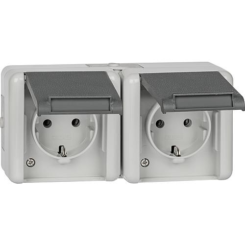 Surface-mounted 2-way socket, horizontal Standard 1