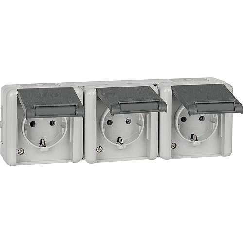 Surface-mounted 3-way socket, horizontal Standard 1