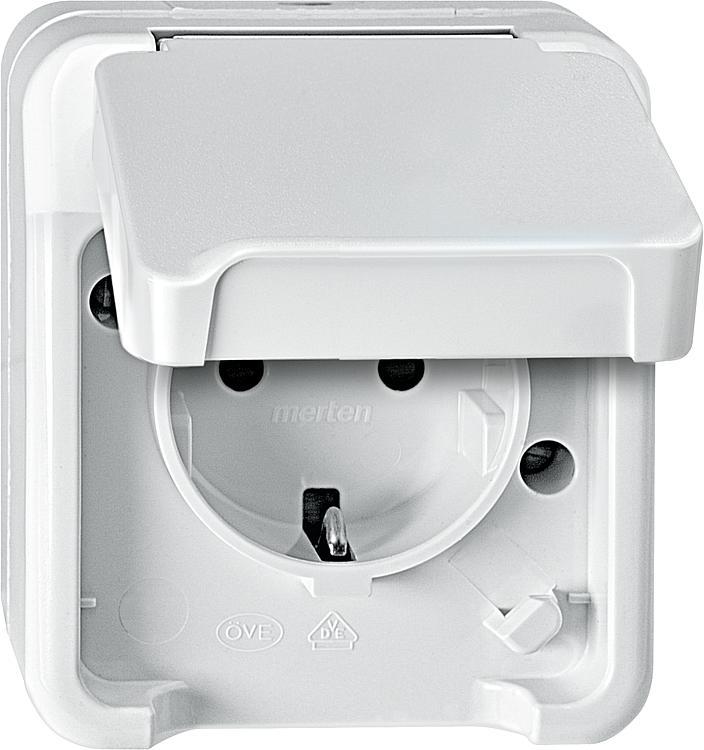 tbs schuko steckdose aquastar merten ip44 ap polarwei be r hrungsschutz 1 st ck. Black Bedroom Furniture Sets. Home Design Ideas