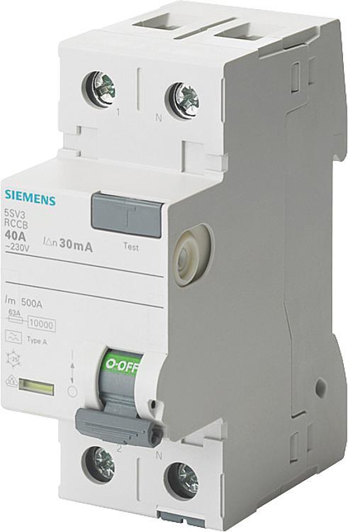 Siemens earth leakage circuit-breaker, 2-pin, type A, 25A, 30mA