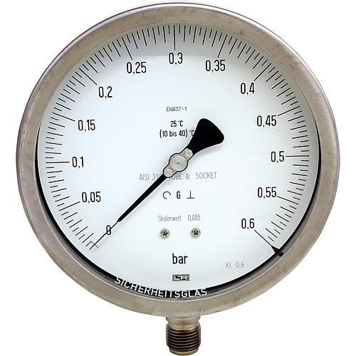 "Precision measurement pressure gauge ø 160 mm, DN 15 (1/2"") radial Standard 1"