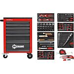 Workshop trolley with ABS plastic work surface, 119-piece