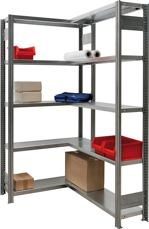tbs eckregal set h he 2000 mm breite 1005 mm mit 10 stahlfachb den fachlast 150 kg. Black Bedroom Furniture Sets. Home Design Ideas