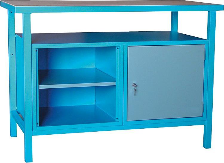 tbs werkbank mit spanplatte und abschlie barer t r. Black Bedroom Furniture Sets. Home Design Ideas