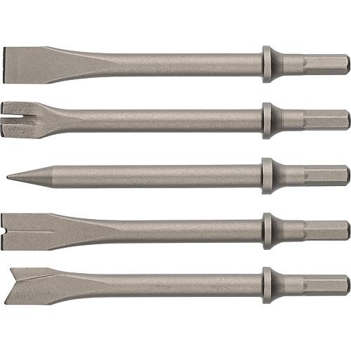 Chisel set, for pneumatic chisel hammer 82 008 23, 5-piece Standard 1